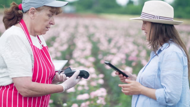 contactless payment. young woman buying decorative rose bushes from a small garden center in a rose plantation. active senior woman running a small farmer's family business, keeping up with technologies. - working seniors stock videos & royalty-free footage