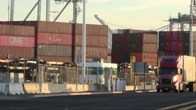 container cargo and trucking - oakland california stock videos & royalty-free footage