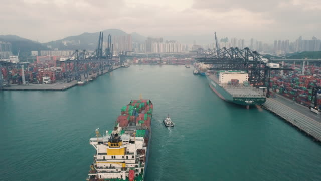 container cargo freight ship terminal in hongkong, china - container stock videos & royalty-free footage