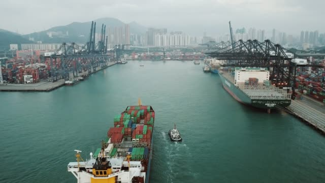 vídeos de stock e filmes b-roll de container cargo freight ship terminal in hongkong, china - transporte de mercadoria