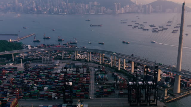 container cargo freight ship terminal in hongkong - unloading stock videos & royalty-free footage