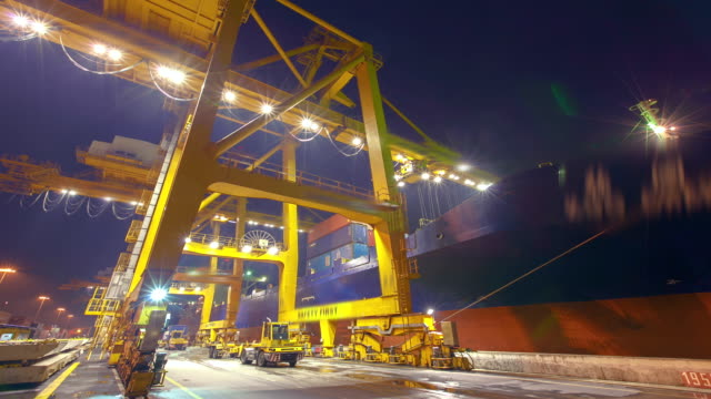 Container Cargo Harbor at Night -Timelapse