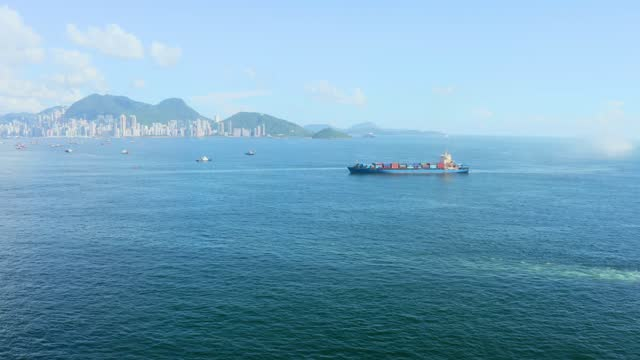 container cargo ship carrying container for business freight import and export, aerial view container ship - coastline stock videos & royalty-free footage