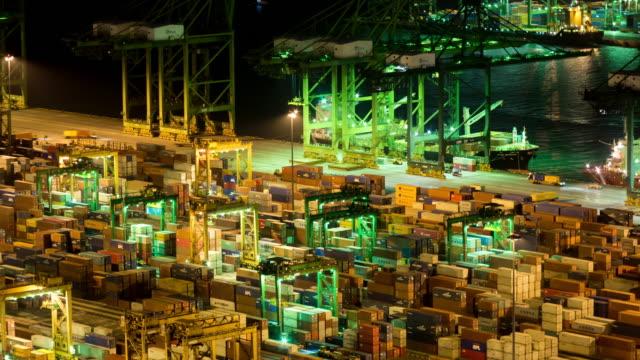 輸入輸出タイムラプスのコンテナ貨物船 - 関税点の映像素材/bロール