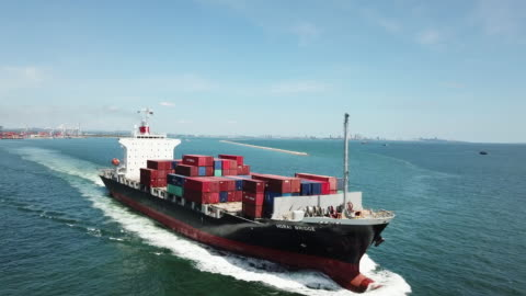 container cargo ship in ocean for export shipping - harbour stock videos & royalty-free footage