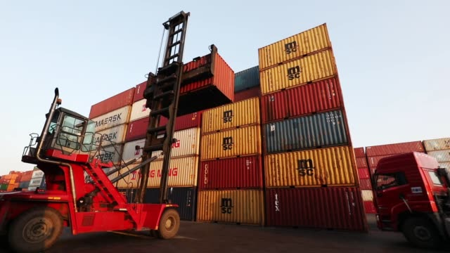 container forklift working in port - forklift stock videos & royalty-free footage