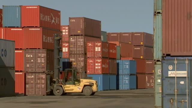 ws container handler parked amidst stacks of cargo containers/ another container handler reversing and driving toward camera/  sydney, australia - solo un uomo di età media video stock e b–roll