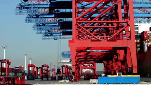 Container Harbor in Hamburg, Germany - Time Lapse