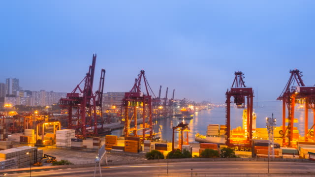 tl ws container port, central hong kong, day to night - time stock videos & royalty-free footage