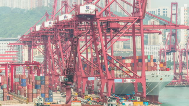 container port, central hong kong,tilt down time lapse. - musical instrument bridge stock videos & royalty-free footage