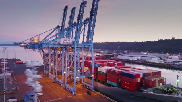 Container Ship Being Positioned in Dock at the Port of Tacoma, Washington