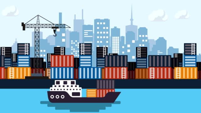 vidéos et rushes de bateau porte-conteneurs, entreprise, port - transport de marchandises par navire