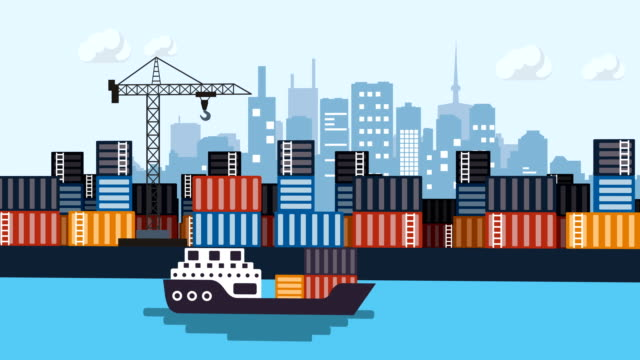 container ship, business, port - cartoon stock videos & royalty-free footage
