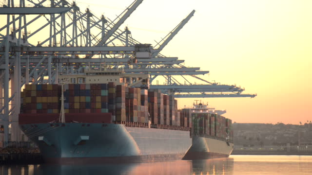 Container ship during sunset