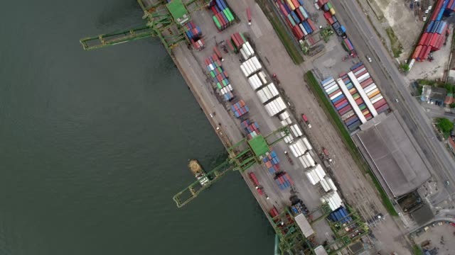 Container ship in import export and business logistic