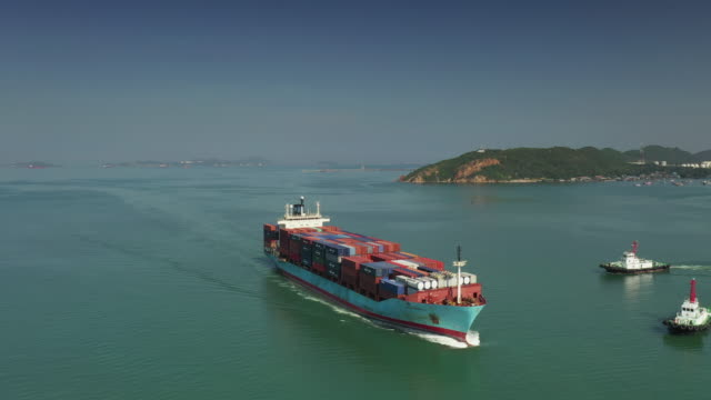 container ship in sea, aerial view - container ship stock videos & royalty-free footage