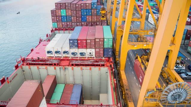 stockvideo's en b-roll-footage met container schip in de haven in azië - passagiersboot