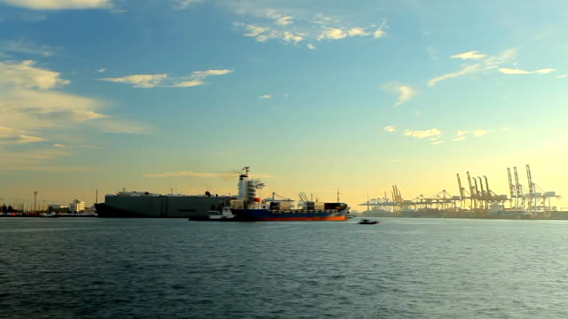 Container ship in the harbour