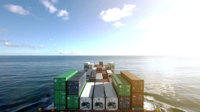 container ship in the north sea - ship stock videos & royalty-free footage