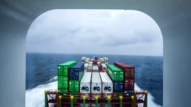 t/l container ship in the north sea - container stock videos & royalty-free footage