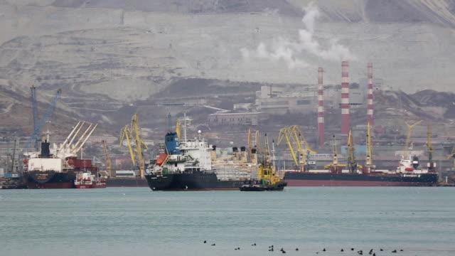 コンテナ船の海の産業用の港 - ポートワイン点の映像素材/bロール
