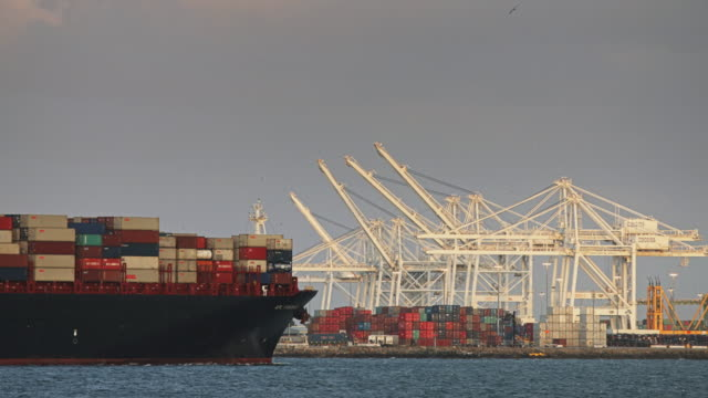 container ship leaving port - port of los angeles stock videos & royalty-free footage