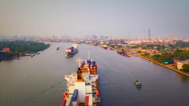 AERIAL container ship on Chao Phraya River