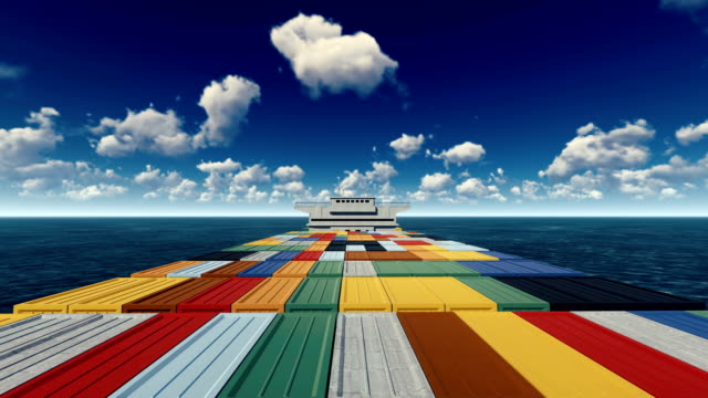 container ship out at sea - ship stock videos & royalty-free footage