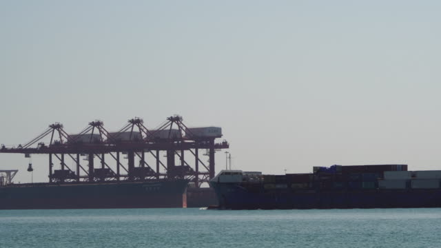 container ship sailing in freight harbor - cargo container stock videos & royalty-free footage
