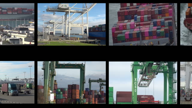 container shipping film reel montage - montage stock videos & royalty-free footage