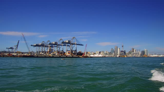 container ships and cranes in auckland - south pacific ocean stock videos & royalty-free footage