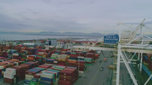 container terminal and cranes aerial view - container stock videos & royalty-free footage