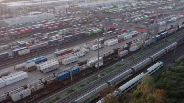container terminal at dawn - north rhine westphalia stock videos & royalty-free footage