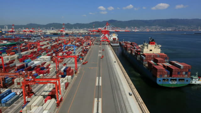 TIME-LAPSE, Container Terminal At Port Of Kobe, Japan