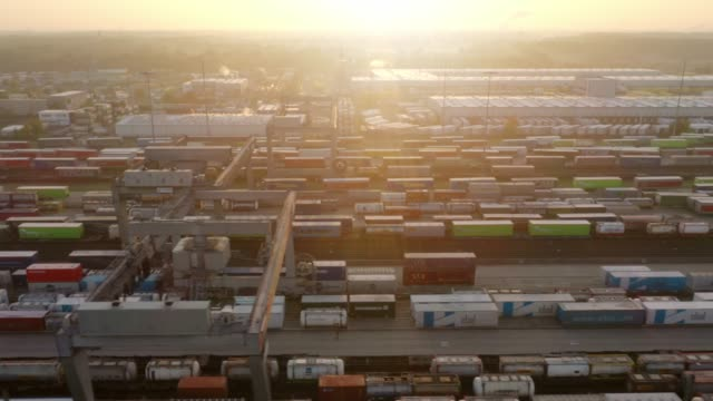 container terminal at sunrise - north rhine westphalia stock videos & royalty-free footage