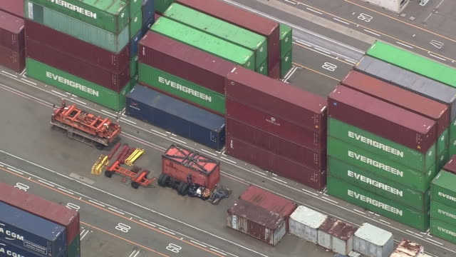 aerial, container terminal in port of kobe, japan - western script stock videos & royalty-free footage