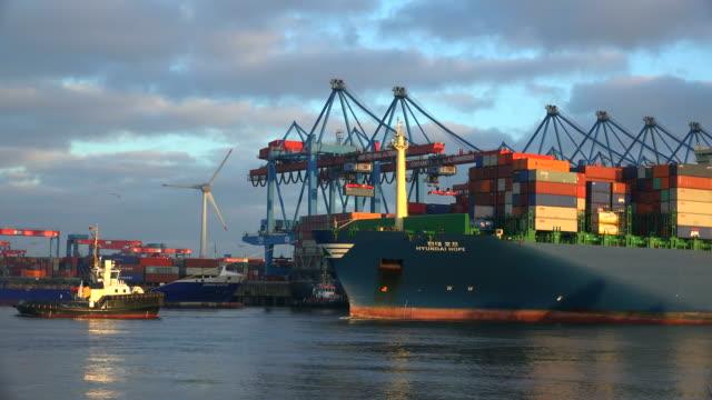 vidéos et rushes de container vessel come in at containerterminal altenwerder, harbor of hamburg - container