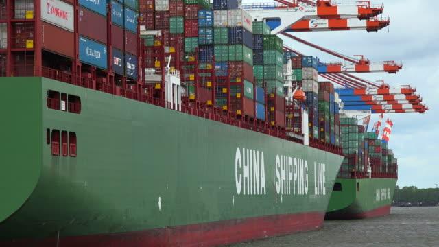 Container vessels at Eurokai Terminal, Hamburg harbour, Hamburg, Germany, Europe
