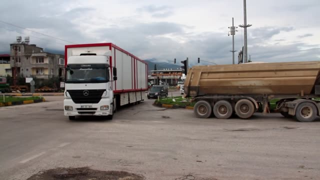 containers and excavators are being dispatched to support the units at border in southern hatay province of turkey on december 20 2018 - hatay stock videos & royalty-free footage