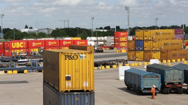 containers on the dockside in hull, yorkshire, uk. - docks stock videos & royalty-free footage