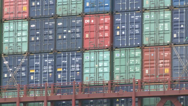 cu zo containership at containerterminal / hamburg, germany - abundance stock videos & royalty-free footage