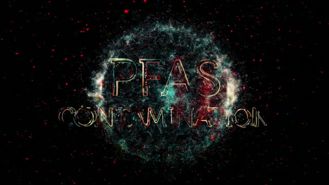 pfas contamination title animation - organismo unicellulare video stock e b–roll