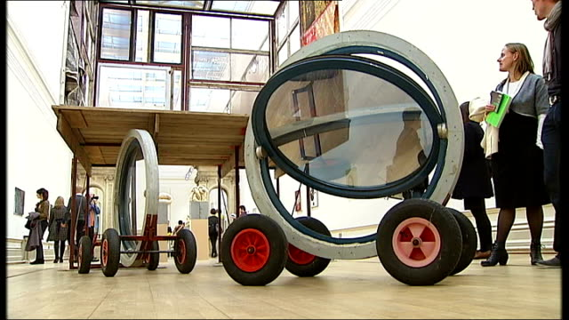 contemporary art exhibition in nottingham ext gv nottingham contemporary building people looking at exhibits including circular windows on wheels /... - ausstellung stock-videos und b-roll-filmmaterial