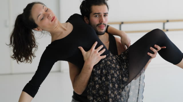 contemporary ballet dancers in rehearsal room - ballet studio stock videos & royalty-free footage