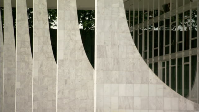 Contemporary marble pillars comprise part of Brasilia's Supreme Federal Court Building. Available in HD.