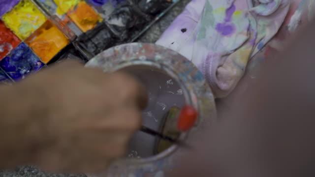 contemporary painter creates - acrylic painting stock videos & royalty-free footage