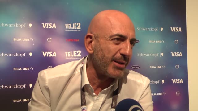 contestant serhat hacipasalioglu of san marino speaks to the press before the semifinals of 2016 eurovision song contest at globe arena in stockholms... - 61st eurovision song contest stock videos and b-roll footage