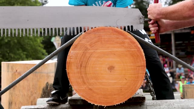 vidéos et rushes de contestants compete in a double buck sawing competition at the lumberjack world championships on july 20 2018 in hayward wisconsin - concurrent