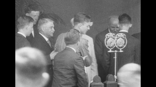 contestants for the edison scholarship file past members of the scholarship committee and shake their hands members in background are from left col... - henry ford stock videos and b-roll footage