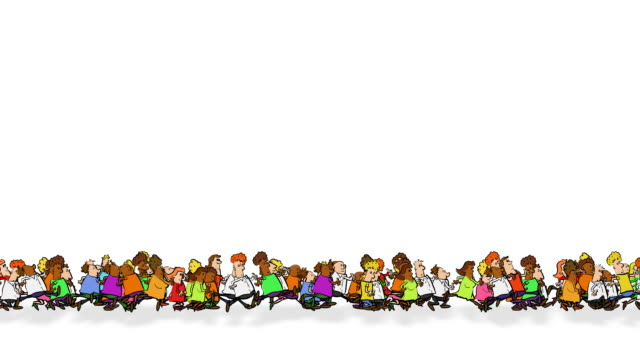 Continual line of running cartoon people